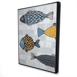 Framed 36 x 48 - 3D - Illustration of nautical fish