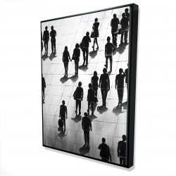 Framed 36 x 48 - 3D - Silhouettes of people on the street