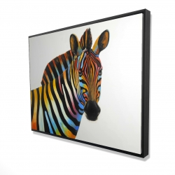 Framed 36 x 48 - 3D - Colorful profile view of a zebra