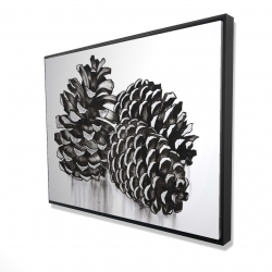Framed 36 x 48 - 3D - Three small pine cones