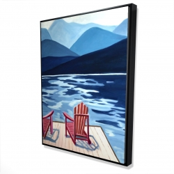 Framed 36 x 48 - 3D - Lake, dock, mountains & chairs