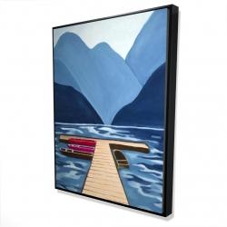 Framed 36 x 48 - 3D - Lake, quai & mountains