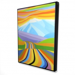 Framed 36 x 48 - 3D - Mountain road multicolored