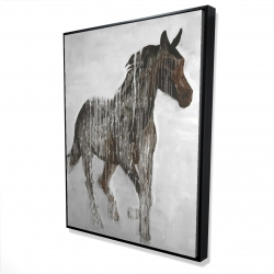 Framed 36 x 48 - 3D - Abstract brown horse