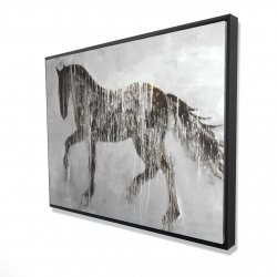 Framed 36 x 48 - 3D - Horse brown silhouette