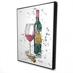 Framed 36 x 48 - 3D - Bottle of red wine