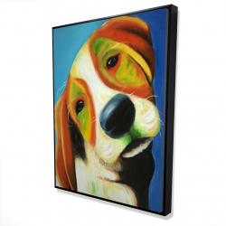 Framed 36 x 48 - 3D - Colorful beagle dog