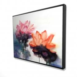 Framed 36 x 48 - 3D - Watercolor lotus flowers