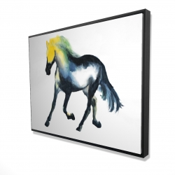 Framed 36 x 48 - 3D - Galloping colorful horse