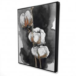 Framed 36 x 48 - 3D - Watercolor cotton flowers