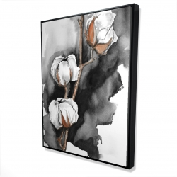 Framed 36 x 48 - 3D - Cotton flowers on a black background