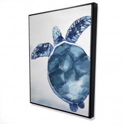 Framed 36 x 48 - 3D - Watercolor blue turtle