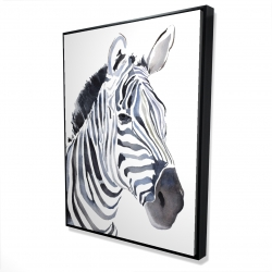 Framed 36 x 48 - 3D - Watercolor zebra
