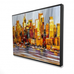 Framed 36 x 48 - 3D - Orange buildings