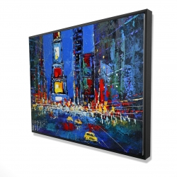 Framed 36 x 48 - 3D - Colorful and abstract times square by night