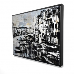 Framed 36 x 48 - 3D - Abstract port with typography