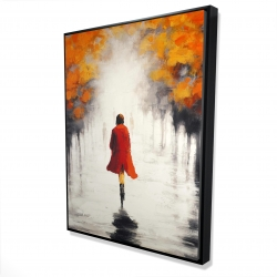 Framed 36 x 48 - 3D - Woman with a red coat by fall