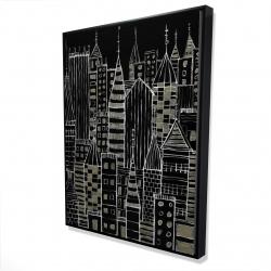 Framed 36 x 48 - 3D - Illustrative dark city