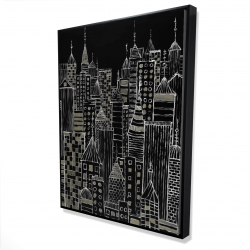 Framed 36 x 48 - 3D - Illustrative city towers
