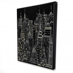 Framed 36 x 48 - 3D - Illustrative city towers