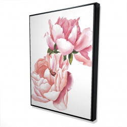 Framed 36 x 48 - 3D - Two pink watercolor roses