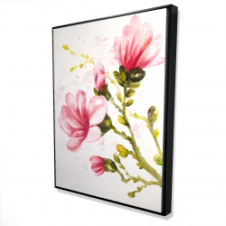 Framed 36 x 48 - 3D - Watercolor magnolia flowers