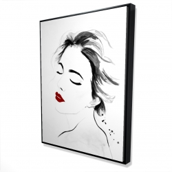 Framed 36 x 48 - 3D - Right side watercolor serenely lady portrait