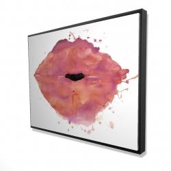 Framed 36 x 48 - 3D - Watercolor pink lipstick