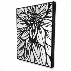 Framed 36 x 48 - 3D - Dahlia flower outline style