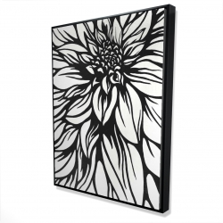 Framed 36 x 48 - 3D - Dahlia flower outline style