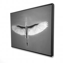 Framed 36 x 48 - 3D - Great blue heron in flight