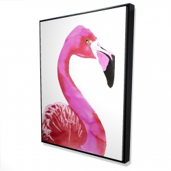 Framed 36 x 48 - 3D - Watercolor proud flamingo profile