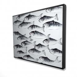 Framed 36 x 48 - 3D - Gray school of fish