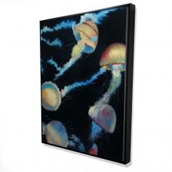 Framed 36 x 48 - 3D - Colorful jellyfishes in the dark