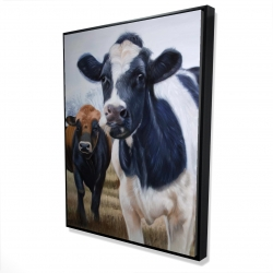 Framed 36 x 48 - 3D - Two cows eating grass
