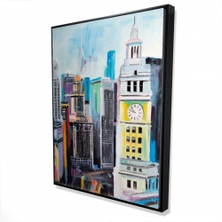 Framed 36 x 48 - 3D - Colorful cityscape of manhattan