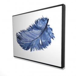 Framed 36 x 48 - 3D - Watercolor blue feather