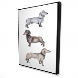 Framed 36 x 48 - 3D - Dachshund dogs