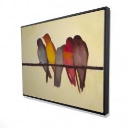Framed 36 x 48 - 3D - Five birds on a branch