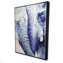 Framed 36 x 48 - 3D - Elephant couple loving each other