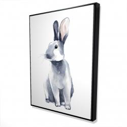 Framed 36 x 48 - 3D - Gray curious rabbit