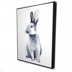 Framed 36 x 48 - 3D - Gray curious rabbit
