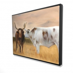 Framed 36 x 48 - 3D - Two cows kissing by sunset
