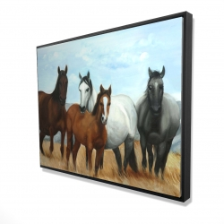 Framed 36 x 48 - 3D - Horses in the meadow by the sun