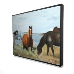 Framed 36 x 48 - 3D - Horses eating in the meadow