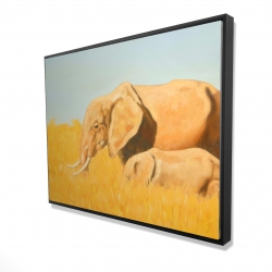 Framed 36 x 48 - 3D - Elephant and its little one