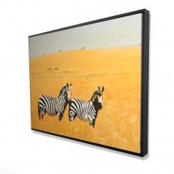 Framed 36 x 48 - 3D - Herd of zebra