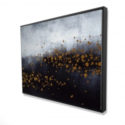Framed 36 x 48 - 3D - Two shades of gray with gold dots