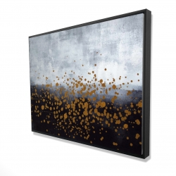 Framed 36 x 48 - 3D - Gold paint splash on gray background