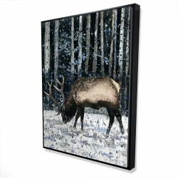 Framed 36 x 48 - 3D - Caribou in the winter forest